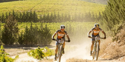 Robyn de Groot (L) and Jennie Stenerhag (R) during stage 1 of the 2016 Absa Cape Epic Mountain Bike stage race held from Saronsberg Wine Estate in Tulbagh, South Africa on the 14th March 2016  Photo by Sam Clark/Cape Epic/SPORTZPICS  PLEASE ENSURE THE APPROPRIATE CREDIT IS GIVEN TO THE PHOTOGRAPHER AND SPORTZPICS ALONG WITH THE ABSA CAPE EPIC  {ace2016}